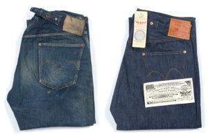 Архивные джинсы Levi's 501 1915 года (слева) и точная копия джинсов Levi's 501 1915 года (справа)